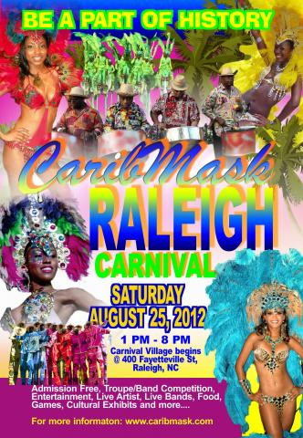 A Caribbean Carnival is being held at Raleigh City Plaza on Aug. 25, 2012. (Image from CaribMask)