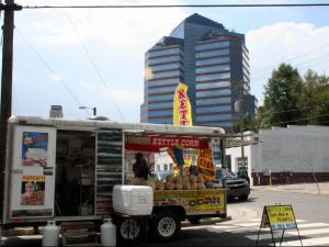 Food trucks drew a crowd Sunday in downtown Durham.
