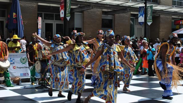 Traditional dancers perform at the African American Cultural Festival.