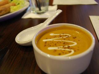The curried carrot and ginger soup at Zinda.