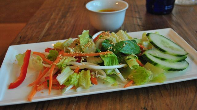 A house salad with ginger dressing at Bida Manda.