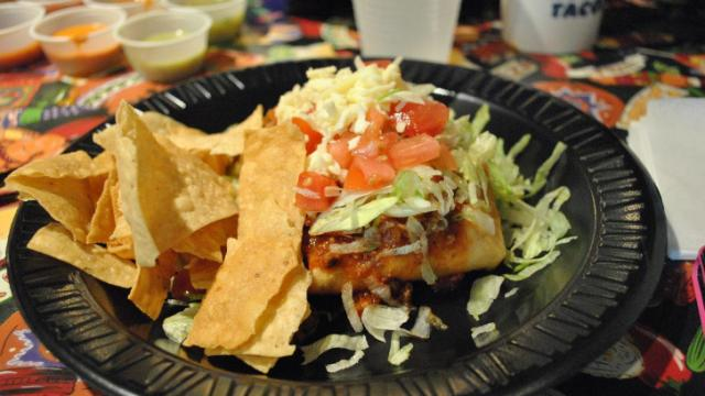 The ChubbyChanga is filled with cheese, onions, salsa and your choice of meat. Get it smothered with chili, cheese, lettuce and tomato.