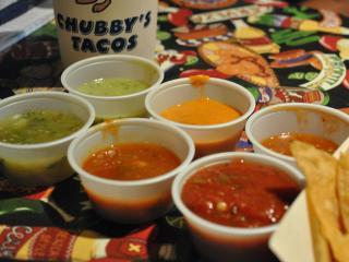 Chubby's salsa bar spans the taste and color spectrum.
