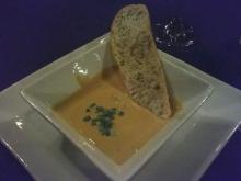 First course: Pumpkin & Cannellini Bean Puree with white truffle oil and chives. Served with Torri Di Luna Pinot Grigio.