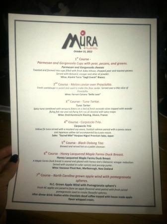Menu for the Mura Third Monday Dinner.