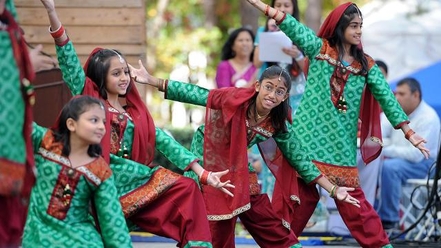 The Dancing Divas perform on the main stage during the twelfth Cary Diwali Celebration on Saturday, October 19, 2012 at Koka Booth Amphitheater in Cary, NC.