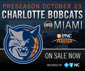 The Charlotte Bobcats take on the Miami Heat on October 23 at the PNC Arena.