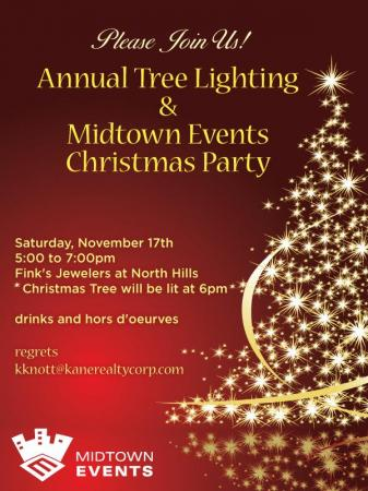 Please join us for the Annual Tree Lighting & Midtown Events Christmas Party on Saturday, November 17th from 5 to 7 pm.