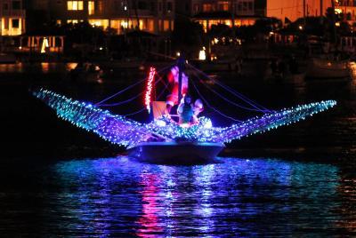 """Rudolph the Redtail Stingray"" won the ""People's Choice"" award at the 29th Annual North Carolina Holiday Flotilla. (Photo courtesy: Beth Watson Hedgepeth)"