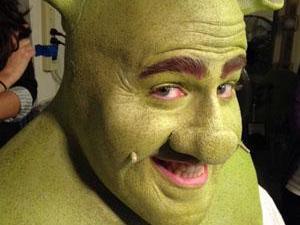 "Perry Sook stars in ""Shrek the Musical."""