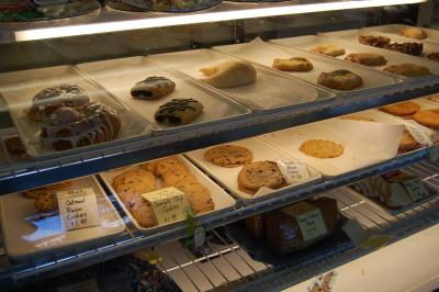 The display case at Once in a Blue Moon bakery in Cary.