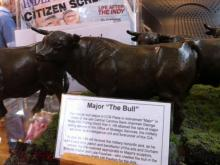 A miniature replica, complete in every detail, of downtown Durham's iconic Major the Bull statue, is available at Morgan Imports. (Photo by Chris Reid)