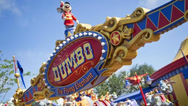 "Guests take a spin on ""Dumbo, the Flying Elephant"" at Magic Kingdom Park. With an unprecedented two Dumbos aloft, guests get to their flights faster aboard one of the park's most iconic attractions. (Gene Duncan, photographer)"