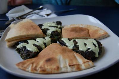 The spinach and tarragon pie appetizer.
