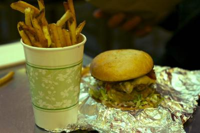 A burger and fries from Only Burger in Durham.
