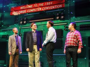 """Nerds"" is the tale of the fictional rivalry between Macintosh creator Steve Jobs and Microsoft's Bill Gates. (Image from NC Theatre)"