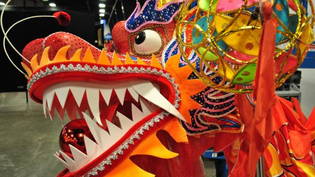 A red dragon on display at the Chinese New Year Festival.