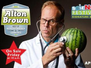 "Alton Brown, host of the Food Network's ""Good Eats,"" is bringing his humor and culinary knowledge to the DPAC on April 18. (Image from DPAC)"