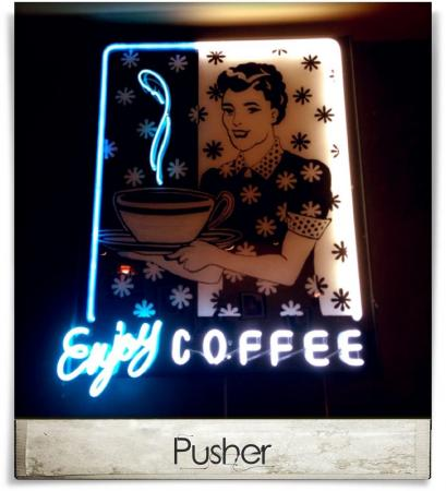 Taken at Third Place Coffeehouse.  Comment: Pusher