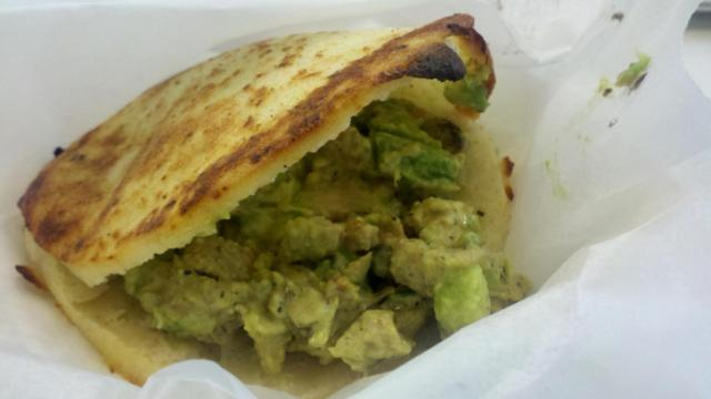 Avocado chicken arepa at Guasaca Guasaca Arepa & Salsa Grill.