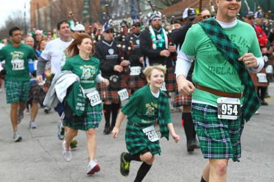 St Patty's Day Kilt Run Moore Square Raleigh NC March 2, 2013. Local kilt bearing runners attempt to break the Guinness World record of participants eclipsing 1089. Photo by CHRIS BAIRD