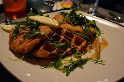 """Chicken"" and waffles at The Fiction Kitchen"