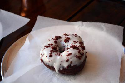 A red velvet doughnut from Monuts in Durham.