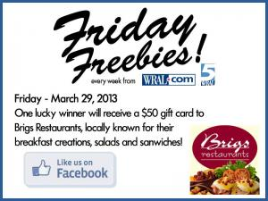 Brigs Restaurants Giveaway
