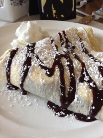 The chocolate peanut butter cream dessert crepe at Simply Crepes.
