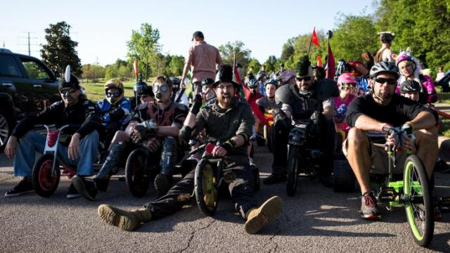 Participants of the Raleigh Big Wheels Downhill Monster Miler, which was sponsered by Flow Mini of Raleigh, await for the start of the race along Centennial Parkway on April 25, 2013. Photo by John West