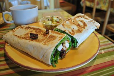 The grilled chicken caesar wrap at Cary Cafe.