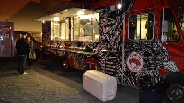 The Porchetta food truck outside of CAM featuring art designed by Matt Curran