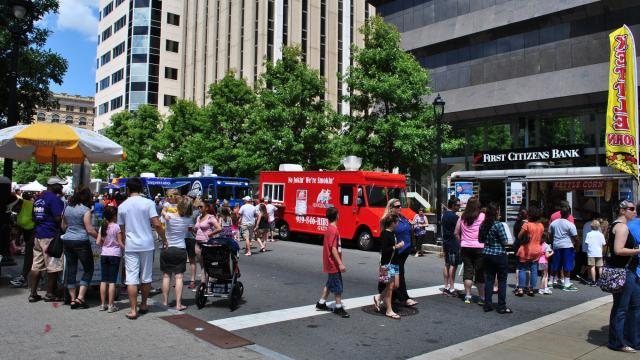 Over 50 food trucks lined Fayetteville Street for downtown Raleigh's first food truck rodeo.