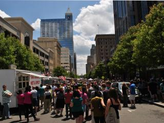 Fayetteville Street was packed with food trucks and hungry people during downtown Raleigh's first food truck rodeo.