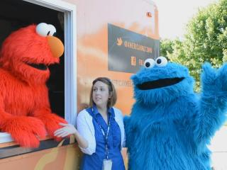 Elmo and Cookie Monster at the American Meltdown food truck.