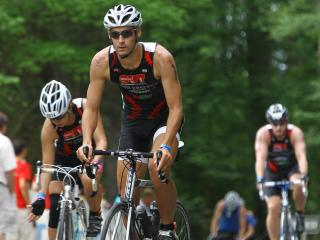 Athletes compete in the Raleigh IRONMAN 70.3 at Jordan Lake on Sunday, June 2, 2013. (Photo by Jack Tarr)