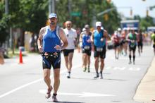 Runners compete in the final stage of the 70.3 mile Ironman Triathalon.