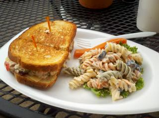 Grilled tuna salad sandwich and pasta salad at Seaboard Cafe.
