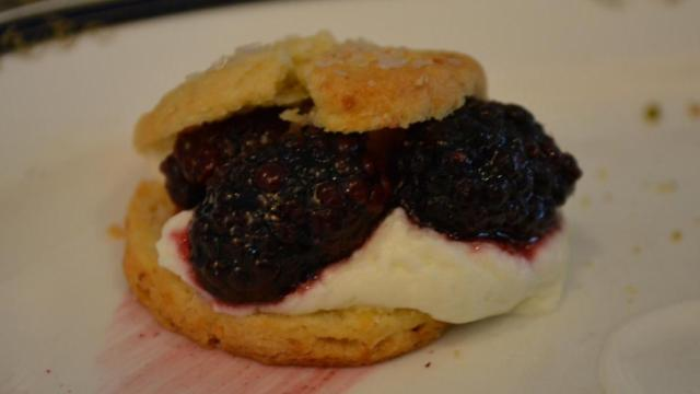 Blackerry shortcake is on the summer menu at the Fairview Restaurant at Washington Duke Inn.