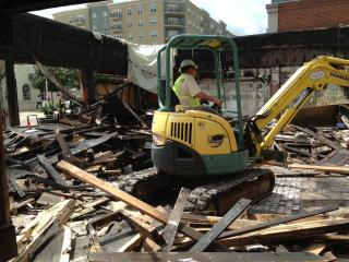 Crews broke ground Monday, July 8, 2013, on the Hibernian Pub in Raleigh. Six months earlier, the Glenwood South staple was destroyed by a grease fire. (Image from Hibernian)