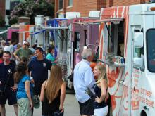 The Food Truck Fest at the Durham Bulls Athletic Park featured eight local food trucks serving on the Diamond Concourse during the Bulls game against the Charlotte Knights.