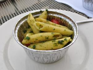 Penne pasta with summer herb pesto at Pop's Trattoria during Dishcrawl Durham.