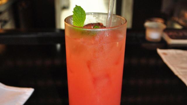 A pina sandia (fresh watermelon juice, pineapple juice and rum) from Taberna Tapas during Dishcrawl Durham.