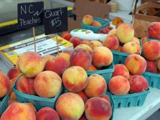 Peaches are in season at the Midtown Farmers Market July 13, 2013