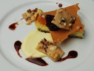 Course 6: Gray's Chapel Goat Cheesecake, Basil Graham Crust, Crema Pastelera, Fig & Blueberry Compote, Almond Tuile - Jimmy V's (Image from Competition Dining)