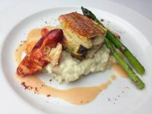Course 2: Crab & Cremini Stuffed B-Liner Snapper, Andouille & Sprite Melon Risotto, Texas Pete® Butter Poached Lobster, Oven Roasted Asparagus, Texas Pete® Powder - Chef Steve Zanini - Jimmy V's (Image from Competition Dining)