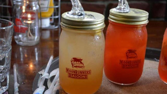 The specialty moonshine cocktails at Moonrunners.