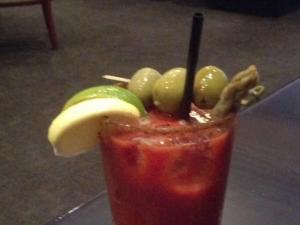 The Bloody Mary at Tribeca Tavern is garnished with pickled asparagus.