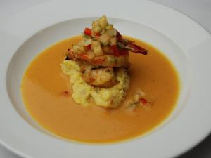 Course 2: Grilled NC Shrimp, Cackalacky Grits, Herb Shrimp Bisque, Sweet Jackson Farms Cantaloupe & Fennel Salsa - Washington Duke Inn (Image from Competition Dining)