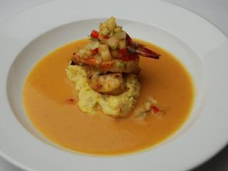 Course 2: Grilled NC Shrimp, Cackalacky Grits, Herb Shrimp Bisque, Sweet Jackson Farms Cantaloupe & Fennel Salsa - Washington Duke Inn (Image from Competition Dining)